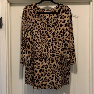 JM COLLECTION LEOPARD PRINT TUNIC